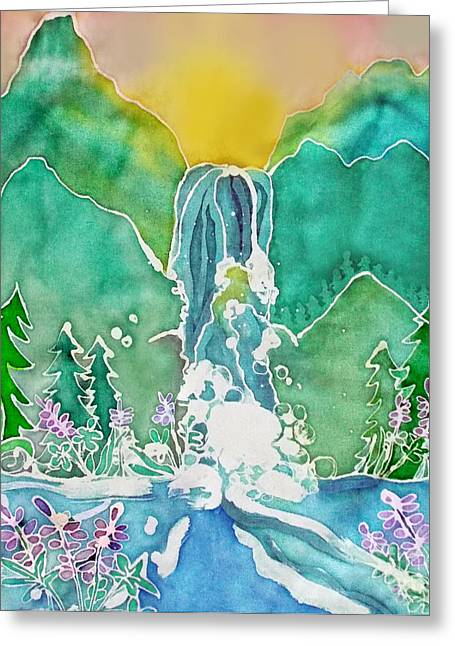 Water Flowing Tapestries - Textiles Greeting Cards - Lupine Falls Greeting Card by Jamie Schab
