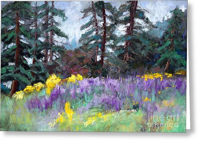 Barrel Pastels Greeting Cards - Lupine Hill Greeting Card by Arlene Baller