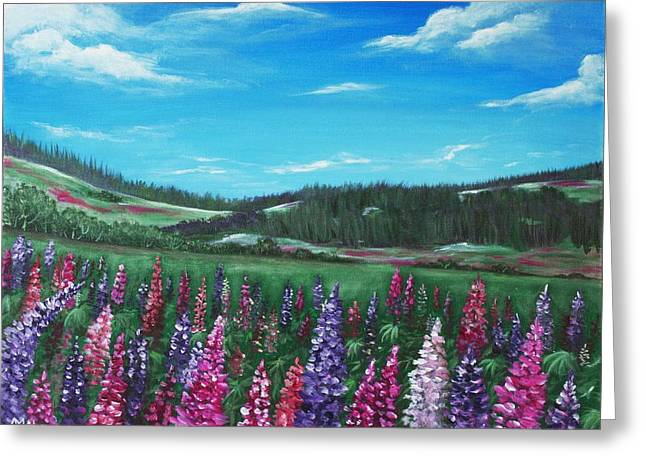 Lupine Hills Greeting Card by Anastasiya Malakhova