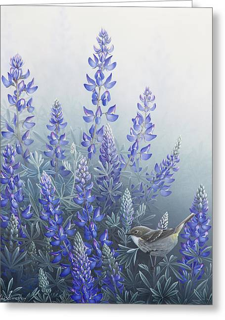 Mist Paintings Greeting Cards - Lupine Greeting Card by Mike Stinnett