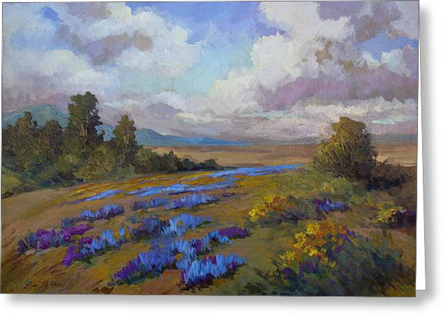 Lupine Greeting Cards - Lupines and Desert Sunflowers Greeting Card by Diane McClary