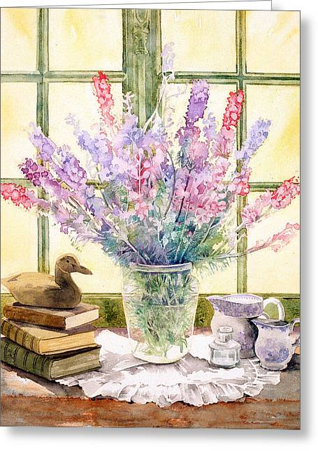 """indoor"" Still Life Greeting Cards - Lupins On Windowsill Greeting Card by Julia Rowntree"