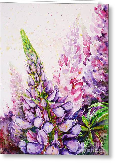 Most Favorite Greeting Cards - Lupins Greeting Card by Zaira Dzhaubaeva