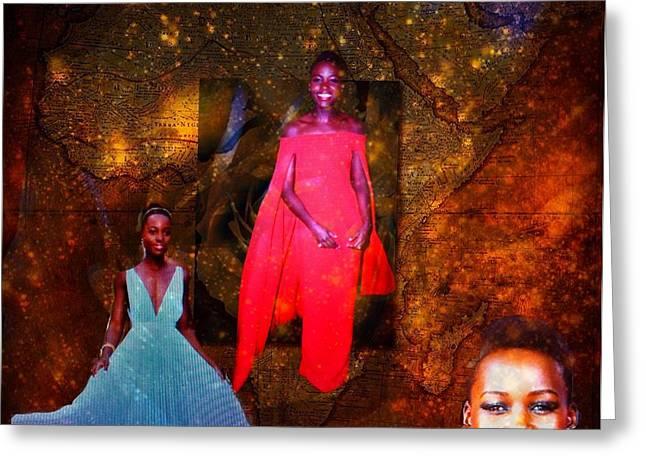 Lupita Nyongo The Lovely Daughter Of Kenya Greeting Card by Saundra Myles