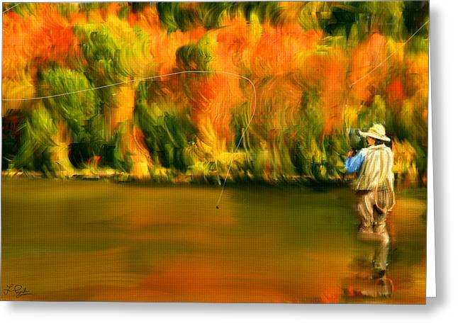 Lure Of Fly Fishing Greeting Card by Lourry Legarde