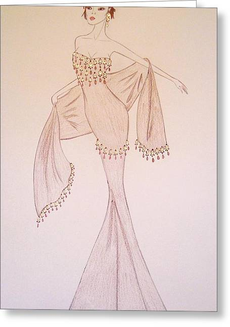 Evening Dress Drawings Greeting Cards - Lure of the Orient Greeting Card by Christine Corretti