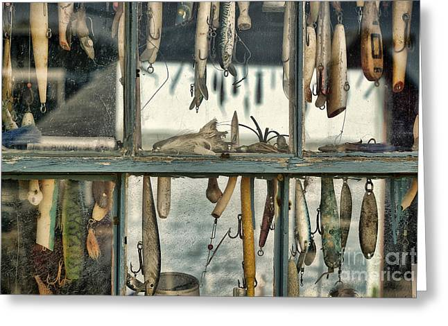 New England Village Greeting Cards - Lure Shack Greeting Card by John Greim
