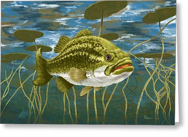 Fresh Water Fish Greeting Cards - Lurking Lunker Greeting Card by Kevin Putman