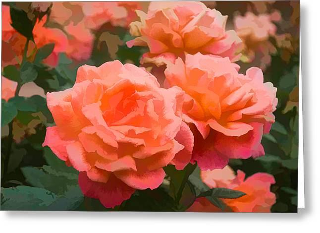 Bittersweet Digital Greeting Cards - Luscious Fragrant Roses - Impressions of June Greeting Card by Georgia Mizuleva