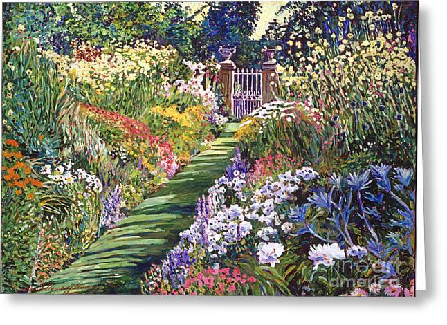 Lush Floral Pathway Greeting Card by David Lloyd Glover