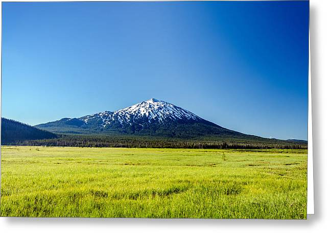 Mt Bachelor Greeting Cards - Lush Green Meadow and Mount Bachelor Greeting Card by Jess Kraft
