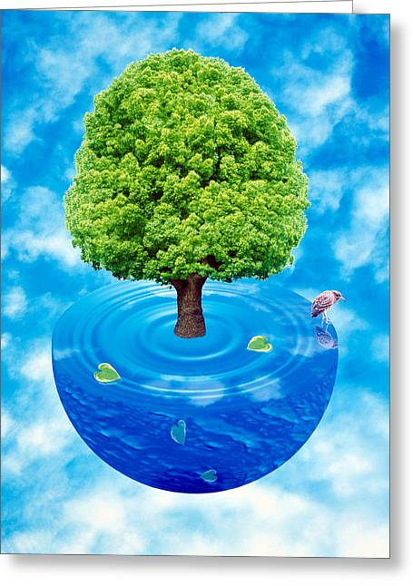 Watery Greeting Cards - Lush Green Tree Growing From Half Greeting Card by Panoramic Images