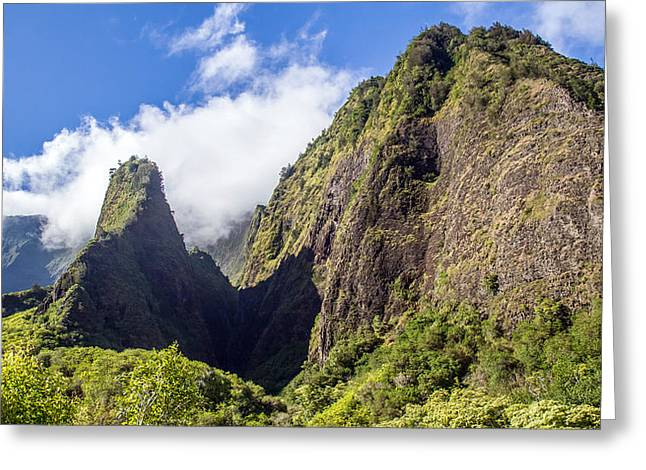 Lush Green Greeting Cards - Lush Iao Needle Maui Greeting Card by Pierre Leclerc Photography