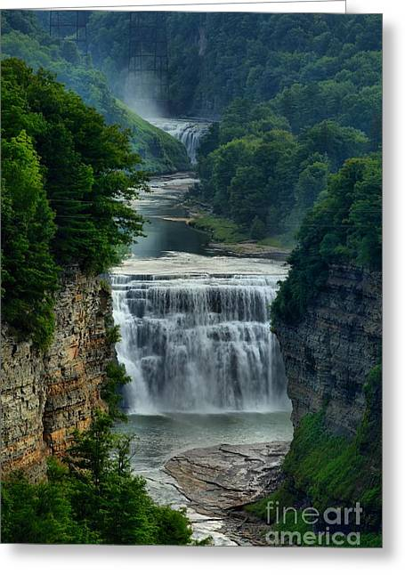 Inspiration Point Greeting Cards - Lush Letchworth Inspiration Point Greeting Card by Adam Jewell