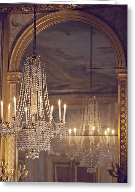 France Photographs Greeting Cards - Lustre de Fontainebleau - Paris Chandelier Greeting Card by Melanie Alexandra Price