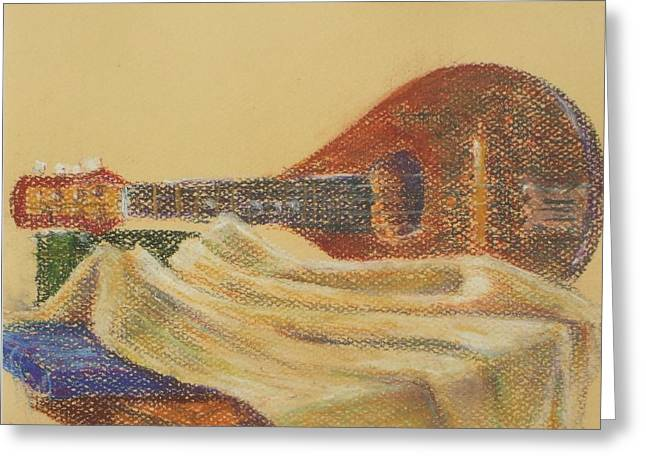 Lute Pastels Greeting Cards - Lute and tablecloth Greeting Card by Joanne Swords-Wang
