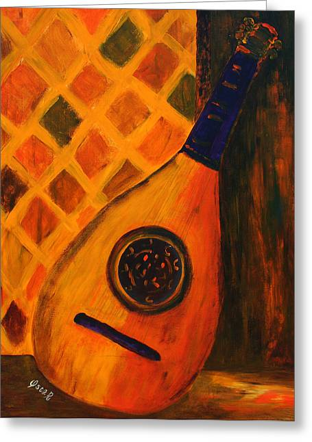 Lute Paintings Greeting Cards - Lute by the Window  Greeting Card by Oscar Penalber