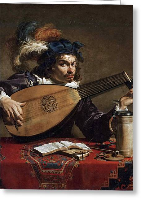 Lute Paintings Greeting Cards - Lute Player Greeting Card by Theodoor Rombouts