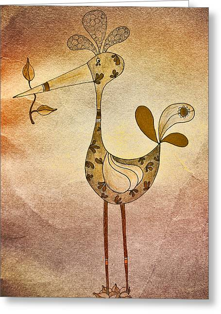 Textured Drawings Greeting Cards - Lutgardes Bird - 05t2c Greeting Card by Variance Collections