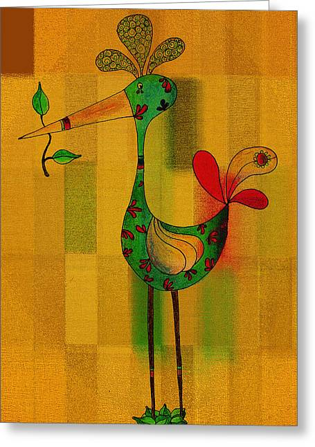 Golden Drawings Greeting Cards - Lutgardes Bird - 061109106-wyel Greeting Card by Variance Collections