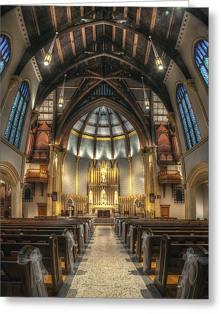 Vaulted Ceilings Greeting Cards - Luther Memorial Church Greeting Card by Scott Norris