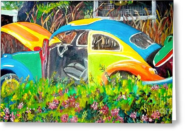 Hippie Sculpture Greeting Cards - Luv Bug Greeting Card by Frank Giordano
