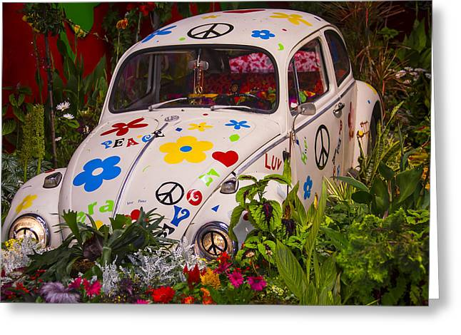 Vintage Auto Greeting Cards - Luv Bug In The Garden Greeting Card by Garry Gay