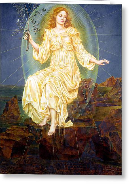 Olive Greeting Cards - Lux in Tenebris Greeting Card by Evelyn De Morgan
