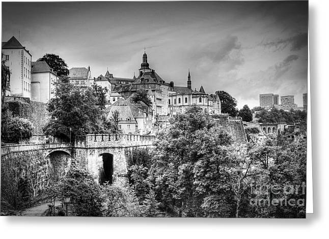 Luxembourg Greeting Cards - Luxembourg City in Black and White Greeting Card by Emily Enz