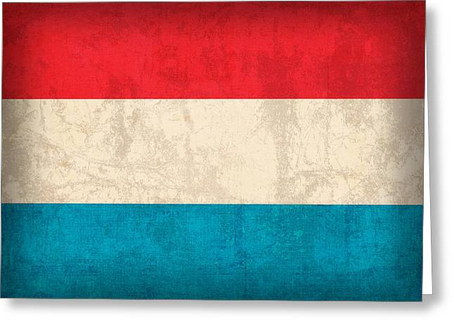 Luxembourg Greeting Cards - Luxembourg Flag Vintage Distressed Finish Greeting Card by Design Turnpike