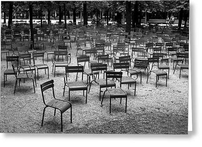 Chaise Greeting Cards - Luxembourg garden after the concert Greeting Card by Anders Hingel