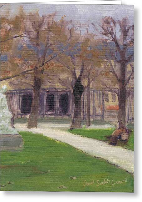 Paysage A L Greeting Cards - Luxembourg Garden in Winter - Jardin de Luxembourg en hiver Greeting Card by David Ormond
