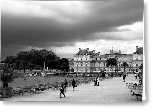 Black And White Paris Greeting Cards - Luxembourg Gardens 2bw Greeting Card by Andrew Fare