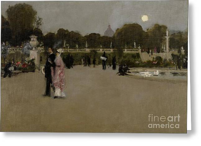 Paris In Lights Greeting Cards - Luxembourg Gardens at Twilight Greeting Card by John Singer Sargent