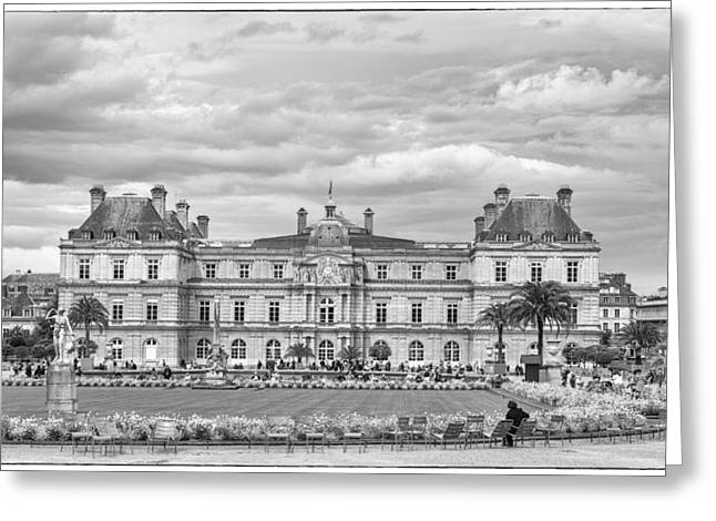 Luxembourg Palace In Mono Greeting Card by Georgia Fowler
