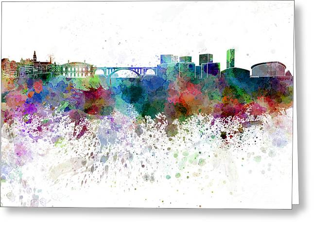 Luxembourg Greeting Cards - Luxembourg skyline in watercolor on white background Greeting Card by Pablo Romero