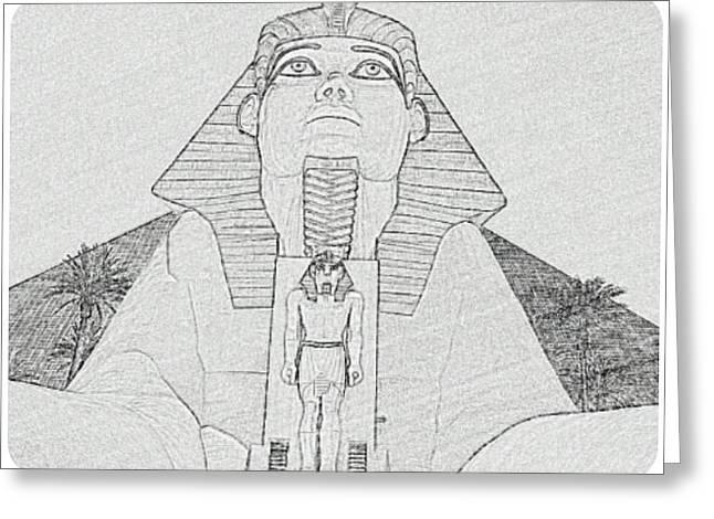 Las Vegas Drawings Greeting Cards - Luxor Sphinx Skeatch Art Greeting Card by Ruben Chavez