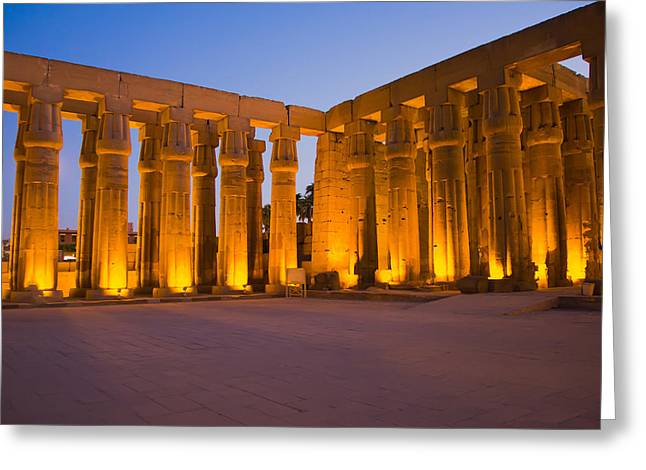 New Kingdom Temple Greeting Cards - Luxor temple at night Greeting Card by Jaroslav Frank