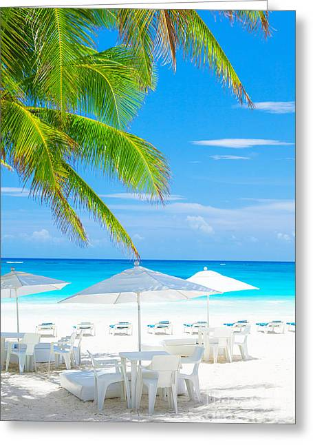 Sunbed Greeting Cards - Luxury beach cafe Greeting Card by Anna Omelchenko