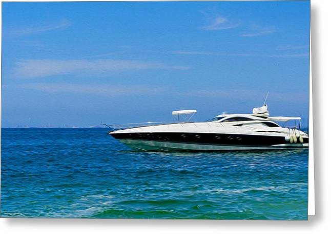 Boat Cruise Digital Greeting Cards - Luxury Boat Greeting Card by Aged Pixel