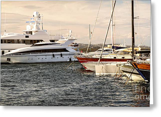 Docked Sailboat Greeting Cards - Luxury boats at St.Tropez Greeting Card by Elena Elisseeva
