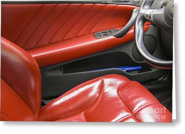 Traffic Control Greeting Cards - Luxury car interiour Greeting Card by Patricia Hofmeester