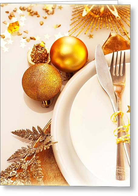 Indoor Still Life Greeting Cards - Luxury Christmas table setting Greeting Card by Anna Omelchenko
