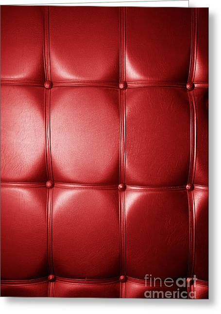 Gold Buttons Greeting Cards - Luxury genuine leather. Red color Greeting Card by Michal Bednarek