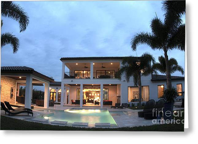 Luxury Home With Pool Greeting Card by Bill Bachmann