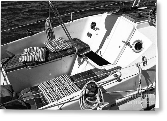 Sailboat Photos Greeting Cards - Luxury in Mykonos Town mono Greeting Card by John Rizzuto