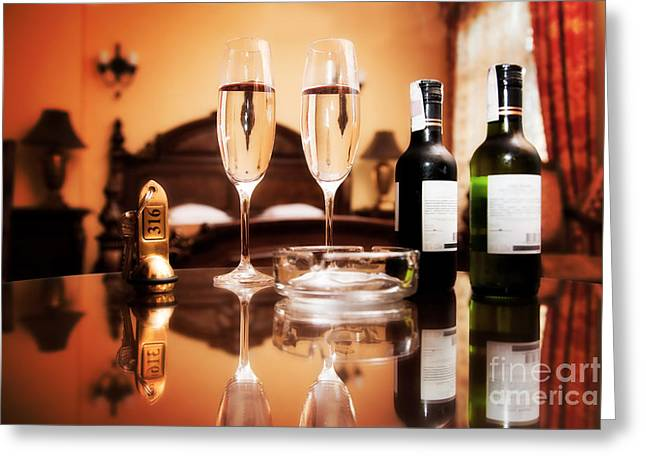 Wine Service Photographs Greeting Cards - Luxury interior hotel room with elegant service Greeting Card by Michal Bednarek