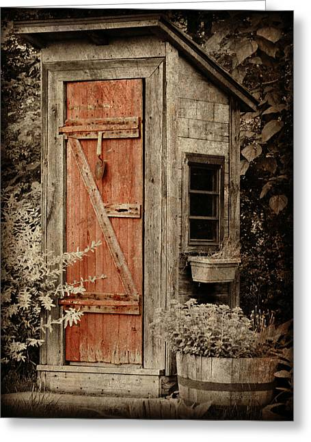 Facility Greeting Cards - Luxury Outhouse Greeting Card by Brenda Conrad