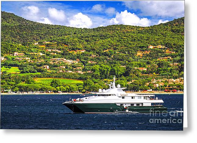 Riviera Greeting Cards - Luxury yacht at the coast of French Riviera Greeting Card by Elena Elisseeva