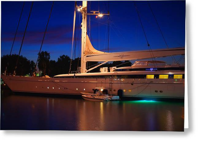 Night Scenes Greeting Cards - Luxury Yacht- San Diego Greeting Card by See My  Photos